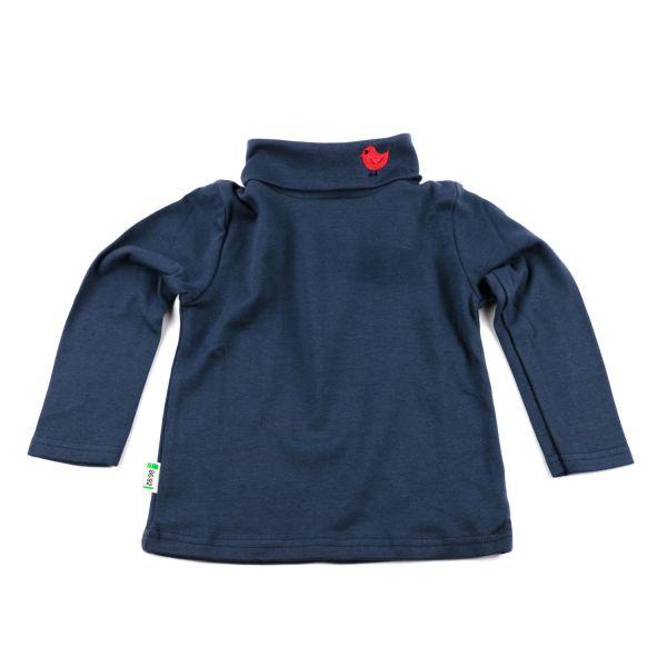 Marine Rollkragen Pullover mit Vögelchen Stickerei