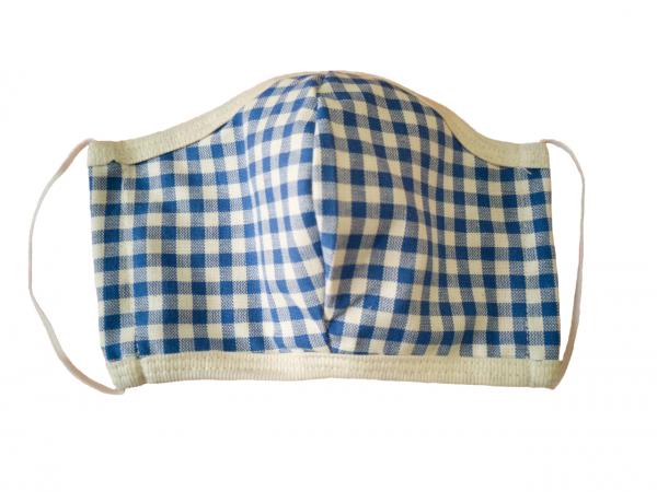 Ergonomische Gesichtsmaske aus Baumwolle Caro Blau 2er Pack