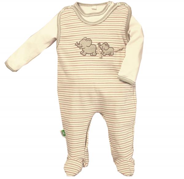 Baby Strampler aus Bio Baumwolle mit Elefanten Stick