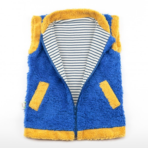 Blau | Gelbe Plüsch Weste aus reiner Bio Baumwolle - bei Lotties Naturtextilien bestellen