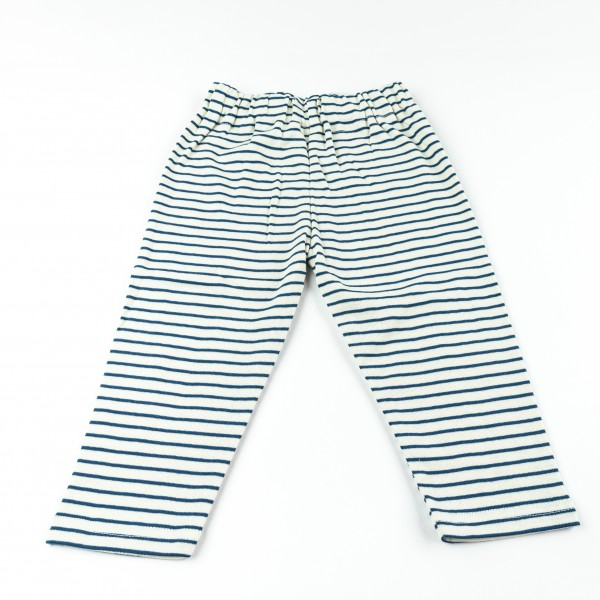Lotties Leggings Blau | Natur Lang Atlantik Ringel aus Bio Baumwolle